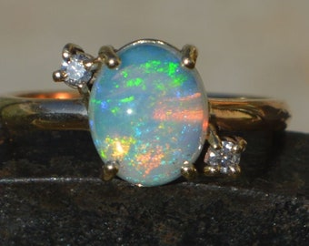 9ct Gold Crystal Opal and Diamond Ring, Australian Opal.   G VS1
