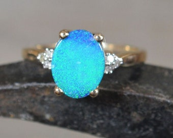 9ct Gold Opal Doublet and Diamond Ring, Australian Opal Doublet