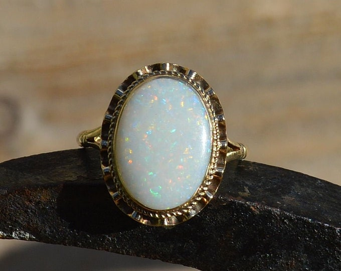 Featured listing image: Large 9ct Gold Opal Ring, Australian Opal