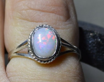 Dainty Silver and Australian Opal Ring, Rope Edge