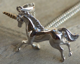 Solid Silver Unicorn Pendant, 9ct Gold Accents