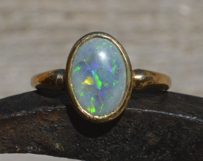Featured listing image: Antique 18ct Gold Black Opal Ring, Solid Australian Black Opal