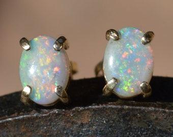 9ct Gold Australian Opal Stud Earrings, Australian Crystal Opals