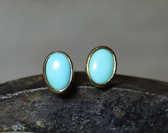 9ct Gold Oval Turquoise Stud Earrings, Oval