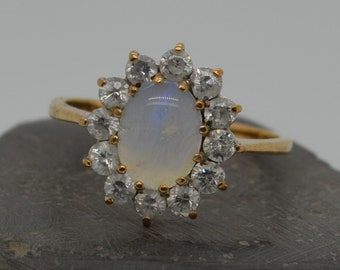 Vintage 9ct Gold Opal and Paste Cluster Ring