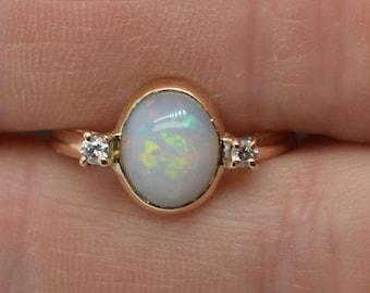 9ct Gold Australian Opal and Diamond Ring, G VS2