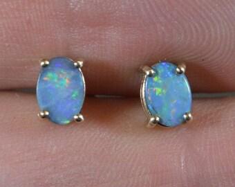 Oval 9ct Gold Opal Doublet Stud Earrings, Australian Opal