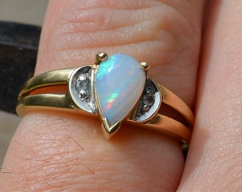 9ct Gold Opal and Cz Ring, Australian Opal Teardrop