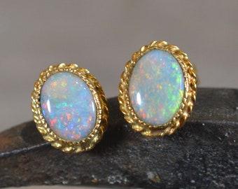 9ct Gold Semi Black Opal Stud Earrings, Australian Opal