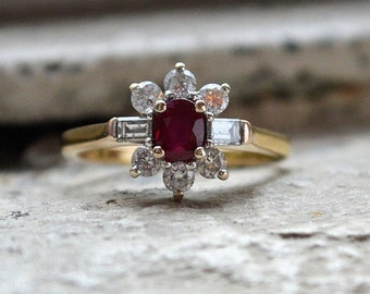 18ct Ruby and Diamond Cluster Ring, Ruby and Diamond Engagement Ring, 0.85Cts Diamonds
