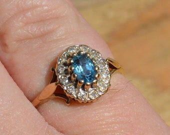 9ct Gold Blue Topaz and Diamond Cluster Ring, Vintage