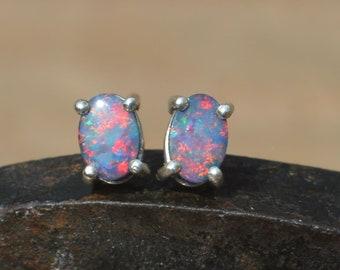 Dainty Oval Australian Opal Doublet Silver Stud Earrings