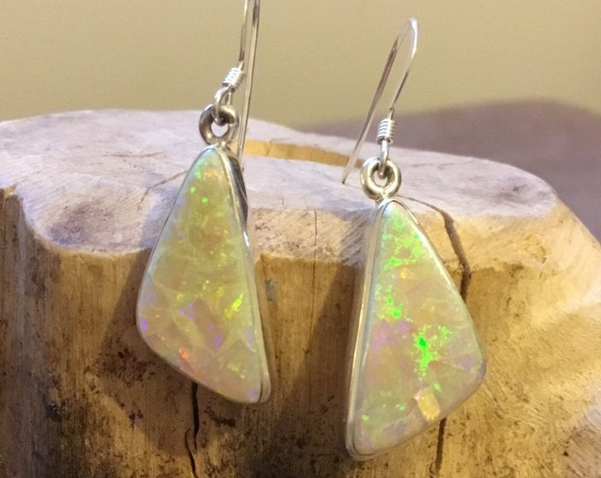 Opal Drop Earrings, Silver Opal Earrings,