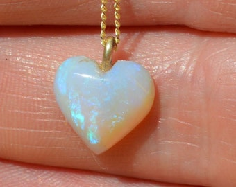 Dainty 9ct Gold Opal Heart Pendant, Australian Opal