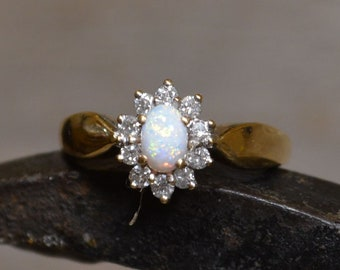 18ct Gold Australian Opal and Diamond Cluster Ring