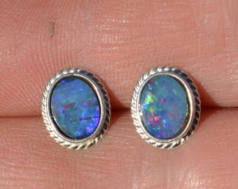 Silver Australian Opal Doublets Stud Earrings, Oval Rope Edge 11 x 9 mm