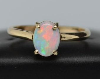 9ct Gold Oval Opal Ring, Australian Opal
