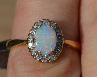 18ct Gold Opal and Diamond Ring, Vintage