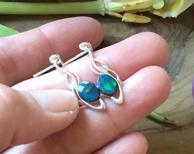 Sterling Silver Opal Drop Earrings, Simplistic