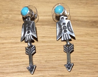 Kingman Turquoise Thunderbird and Arrow Earrings