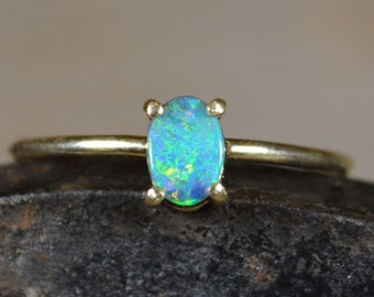 Dainty 9ct Gold Semi Black Opal Ring, Lightning Ridge Opal