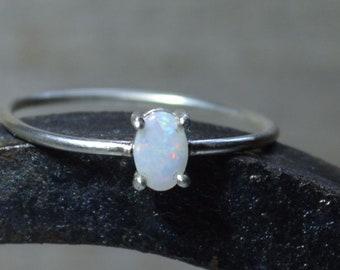 Stacking Dainty Oval Silver Australian Opal Ring, Handmade