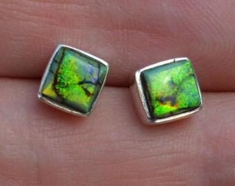 Square Silver Boulder Opal Stud Earrings
