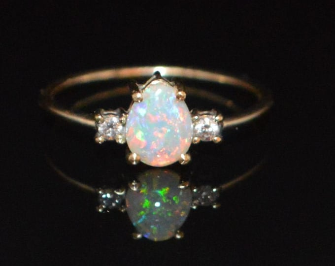 Featured listing image: 9ct Gold Australian Opal and Diamond Ring, VVS1 F
