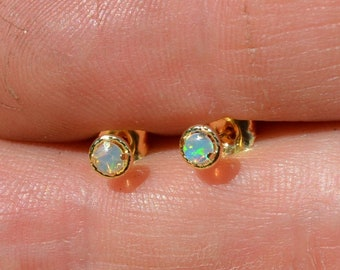 Dainty 18ct Gold Round Opal Earrings, Australian Opal