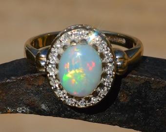 Large 9ct Gold Opal and Diamond Ring, Australian Opal