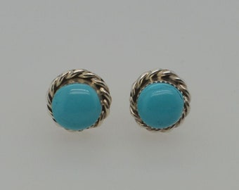Silver Turquoise Round Studs, Kingman Turquoise