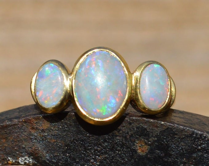 Featured listing image: Large 18ct Gold Australian Opal Ring