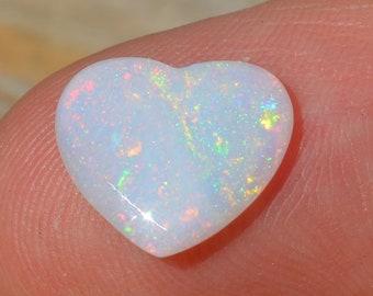 Australian Crystal Opal Heart, Natural Loose Opal Cabochon