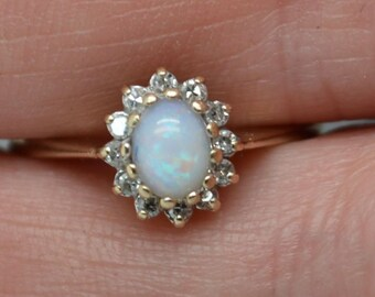 Dainty 9ct Gold Australian Opal and Diamond Halo Ring, Vintage Promise Ring