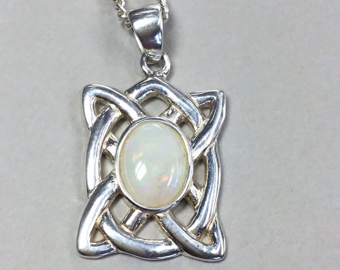 Sterling Silver Opal Celtic Pendant and Chain