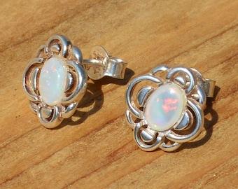 Silver and Opal Stud Earrings, Australian Opal