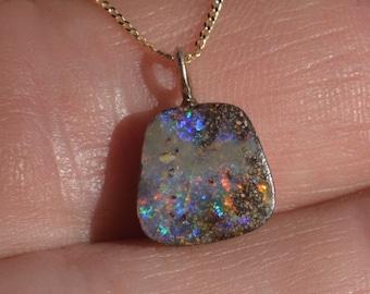 Dainty 9ct Gold Boulder Opal Pendant, Queensland Boulder Opal