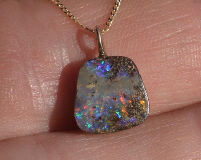Featured listing image: Dainty 9ct Gold Boulder Opal Pendant, Queensland Boulder Opal