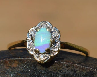 9ct Gold Opal and Diamond Promise Ring. Australian Opal