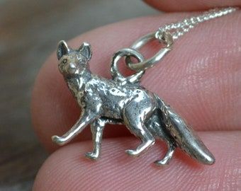 Small Silver Fox Pendant, Solid Silver