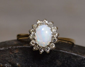 9ct Gold Australian Opal and Diamond Ring, Cluster Ring