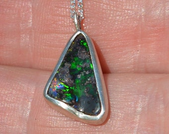 Silver Boulder Opal Pendant, Queensland Opal