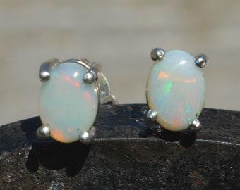 Opal and Silver Oval Stud Earrings, Australian Opal