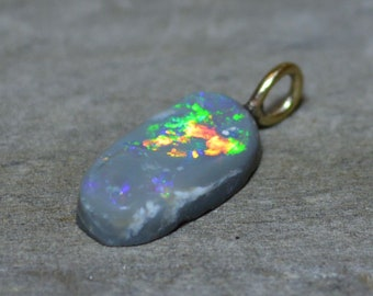 9ct Gold Semi Black Opal Pendant, Lightning Ridge Opal