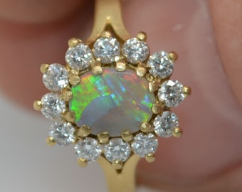 18ct Gold Australian Opal and Diamond Halo Ring, Dark Opal Crystal