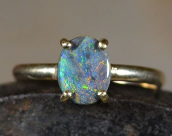 9ct Gold Lightning Ridge Australian Opal Ring, Semi Black Opal