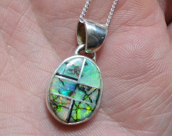 Silver Boulder Opal Pendant, Inlaid Opal