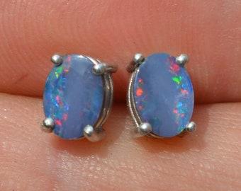 Oval Australian Opal Doublets and Silver Drop Earrings