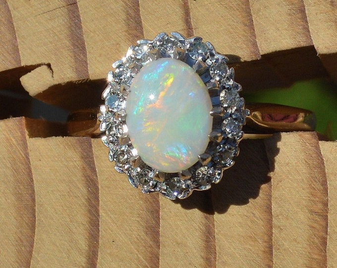 9ct Opal Diamond Cluster Ring, Gold and Opal, Australian Opal