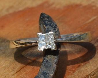 9ct Gold Princess Cut Diamond Ring, 0.15 Carats